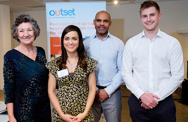 Bev Hurley CBE, CEO of Outset, Ellie Webb of Caleno Drinks, Marvin Rees, Mayor of Bristol and Toby Howkins, Project Manager of Outset Bristol